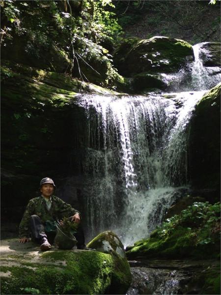 山奥の滝で一休みする