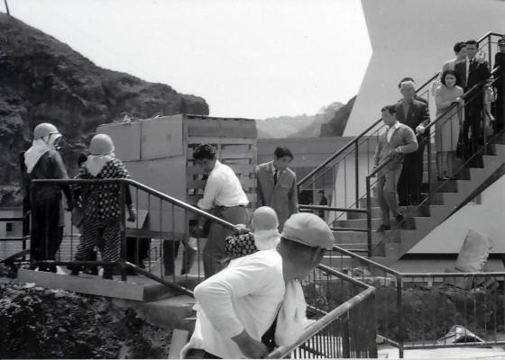 昭和42年、完成した「サルが島」にサルを運びこむ