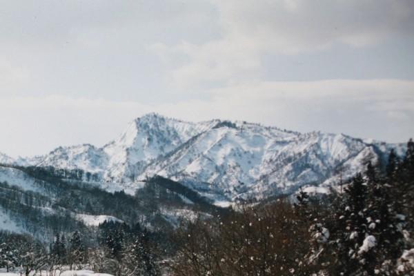 中央やや左寄りがサルッパナの頂上。「クルミ平」は右寄りの中腹辺り。